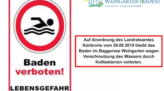 ACHTUNG: BADEVERBOT IM BAGGERSEE